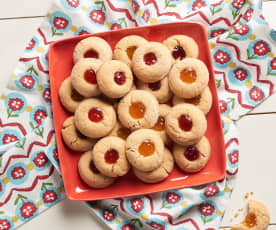 Peanut Butter and Jam Thumbprint Cookies