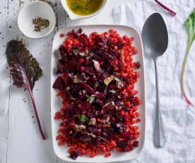 Salada de lentilhas e beterraba com vinagreta de salsa