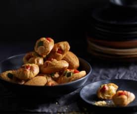 Madeleines au chorizo, courgette et poivron rouge