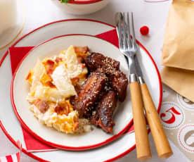 Costillas de cerdo con miel y mostaza con patatas estilo americano