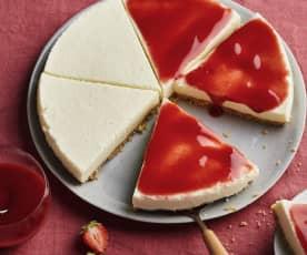 Cheesecake vanille au coulis de fraises