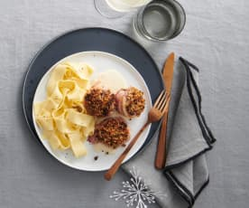 Médaillons de porc gratinés, sauce au cognac