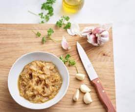 Ail et oignons légèrement rissolés (200 g)