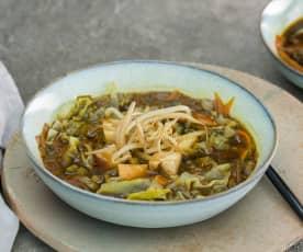 Bol vegetariano de tofu, verduras y soja