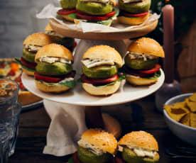 Mini-Burger mit Erbsen-Pattie