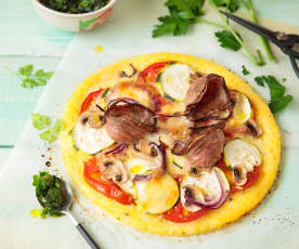 Pizza de polenta à l'andouille