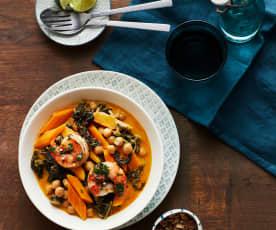 Grünkohl-Curry mit Garnelen