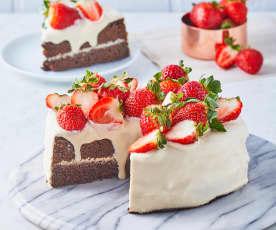 Pastel de fresas con chocolate