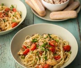Spaghetti with Mussels and Tiramisu Dip