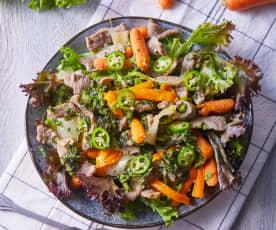 Fajitas de res con verduras salteadas