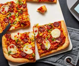 Pizza poivron chèvre et chorizo