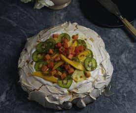 Pavlova de frutos tropicais