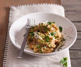 Tagliatelle z wołowiną i gorgonzolą