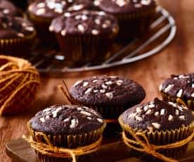 Muffin al cioccolato fondente e pere
