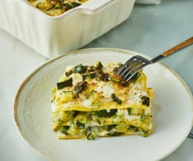Lasagna rucola, zucchine e formaggio di capra