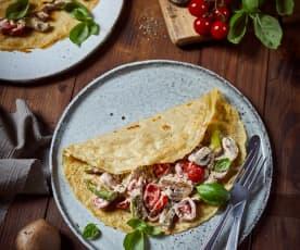 Buchweizen-Crêpes mit Lupinenmehl und buntem Gemüse