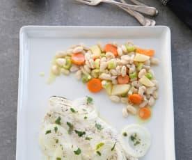 Φασόλια βραστά με λαδολέμονο και ψάρι