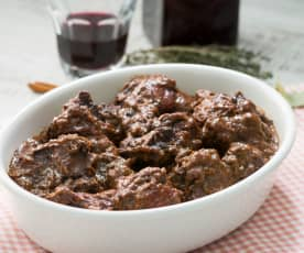 Rabo de ternera con salsa de chocolate