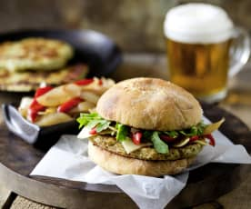 Turkey burgers with caramelised onion and capsicum