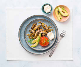 Mushrooms with pistachio butter