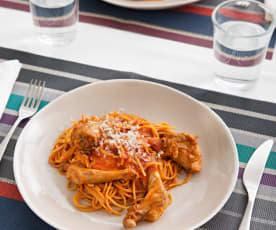 Espaguetis integrales con conejo