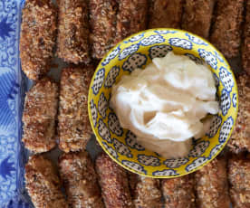 Aubergine and Potato Croquettes with Garlic Mayo