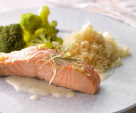 Salmon with Broccoli, Rice and Dill Sauce