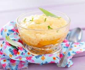 Crème d'abricot aux perles du Japon et compotée de pêches à la verveine