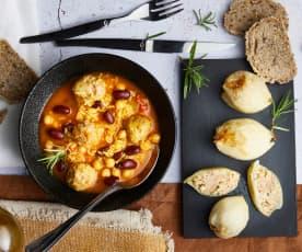 Oignons farcis et soupe afghane