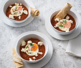 Spicy eggs with tomato sauce