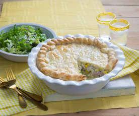 Chicken, leek and corn pie