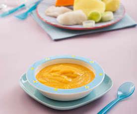 Puré de calabaza, patata y puerro con merluza