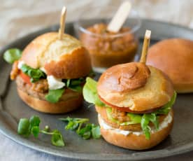 Sliders with walnut or sweet potato patties