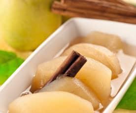 Manzanas en almíbar de moscatel