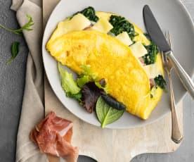 Fluffy omelette con spinaci e prosciutto