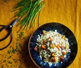 Risoto de batata-doce assada e castanhas