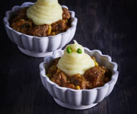 Beef Stew with Ghoulish Mashed Potato Ghosts