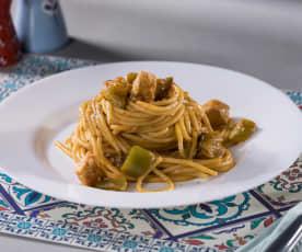 Spaghetti peperoni, spada e melanzane