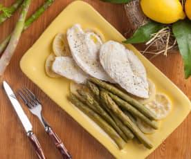 Pollo al limone con asparagi verdi