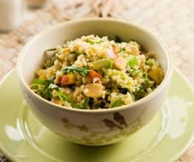 Salada de bulgur, rúcula e pêssego