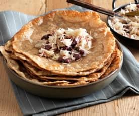 Steirerkrapfen mit Bohnen-Sauerkraut