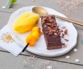 Gianduja cacahuète et caramel, sorbet mangue