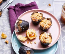 Muffins chocolat blanc, cœur de rhubarbe