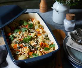 Indischer Gemüsereis aus dem Ofen