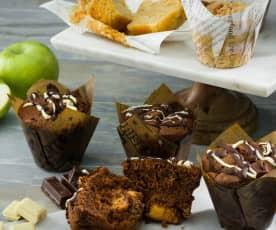 Muffins de chocolate y muffins de manzana y canela