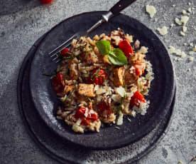 Wildreis-Risotto mit Pute und Kirschtomaten