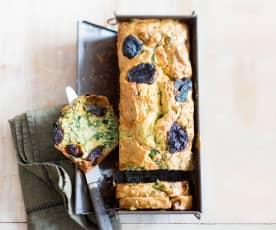 Cake aux blettes, au lard et aux pruneaux