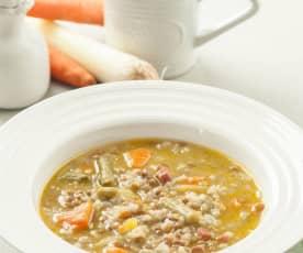 Sopa de verduras con lentejas y arroz