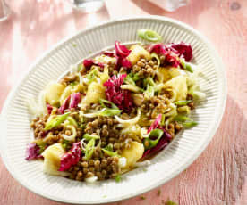 Linsen-Fenchel-Salat mit Frühlingszwiebeln und Ananas