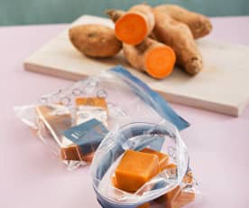 Puré de batata en cubitos